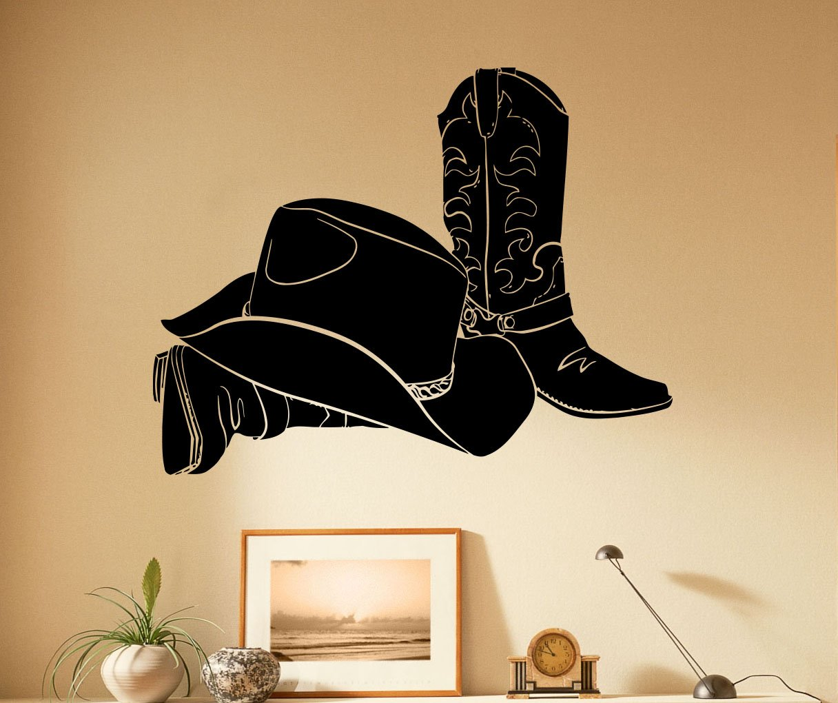 Cowboy wall vinyl decal murals sticker western bedroom art home decor 5cwb01 amazon com