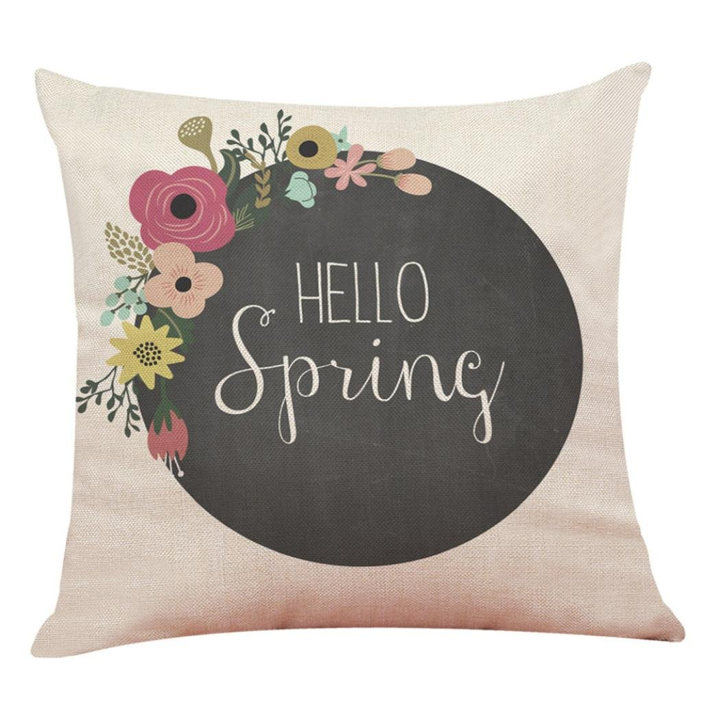 TiTCool 2018 Cushion Cover Hello Spring Home Decor Throw Pillowcase Pillow Covers 18x18 (H)