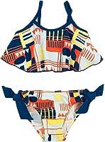 Floatimini Little Girls' Stripe Geo Print Flounce Bikini Set