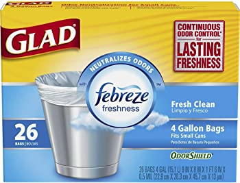 6 Pack Glad OdorShield 4 Gallon White Trash Bag (26 Count)