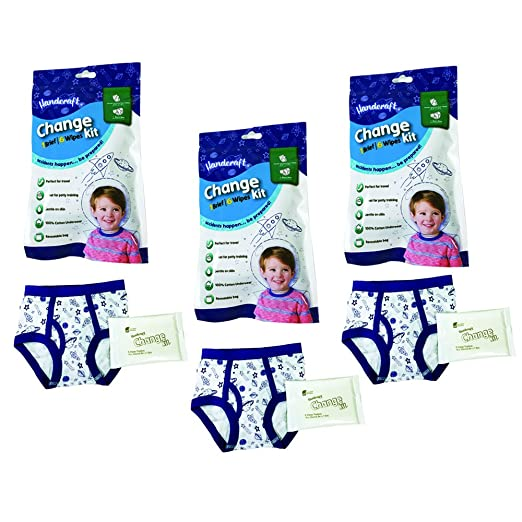 Handcraft Toddler Boys 3-Pack Change Kit Brief + 6 Wipes, Boy/