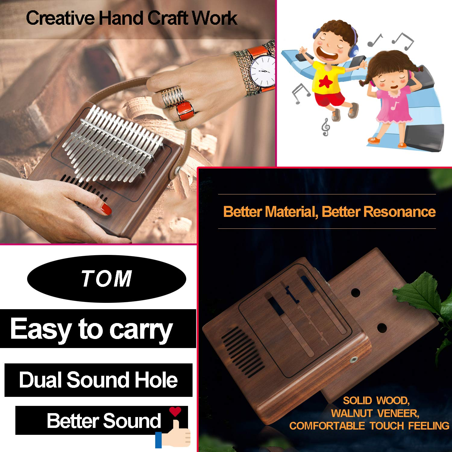 TOM Kalimba, 17 Key Finger Piano with EVA High-performance protective Case, Tune Hammer And Study Instruction 17 Tone Thumb Mbira for Kids Adult Beginners Professionals by TOM (Image #4)