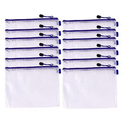 12 unidades, cierre cremallera, PVC, tama/ño A6 Bolsas de viaje portadocumentos color azul