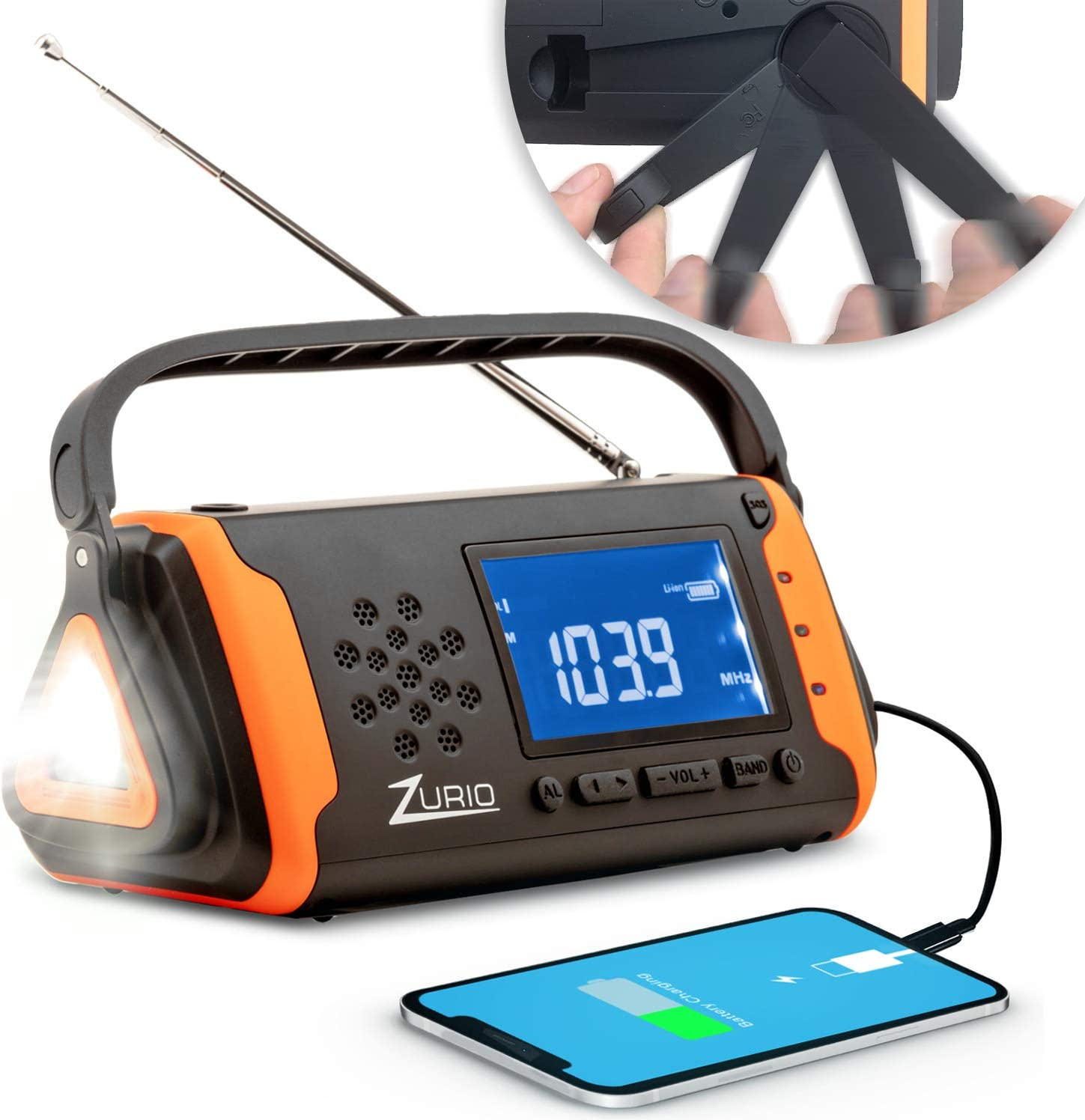 Emergency Radio with NOAA Weather Alert - Hand Crank & Solar Powered Hurricane Radio – AM FM Weather Survival Radio with Battery Backup, Flashlight, Phone Charger, SOS Alarm, & Bonus Survival Whistle