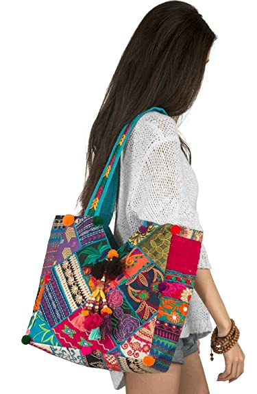 Amazon.com  Unique Women Boho Blue Colorful Tote Shoulder Bag Tassel Handbag  Top Handle Beach Travel Bohemian Hippie  Shoes ec9ee4a8f4cbe