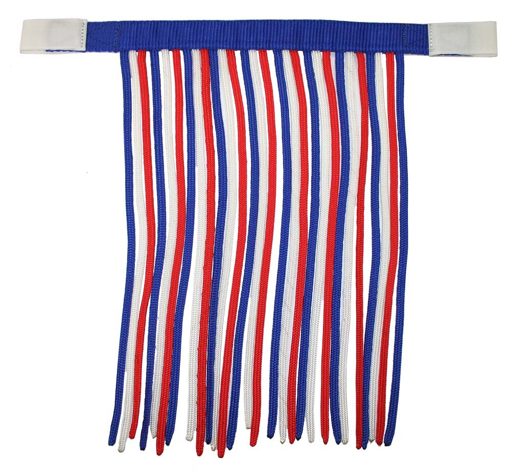 Derby Originals Patriotic Horse Fly Veils/Fringes, Red/White/Blue, Full