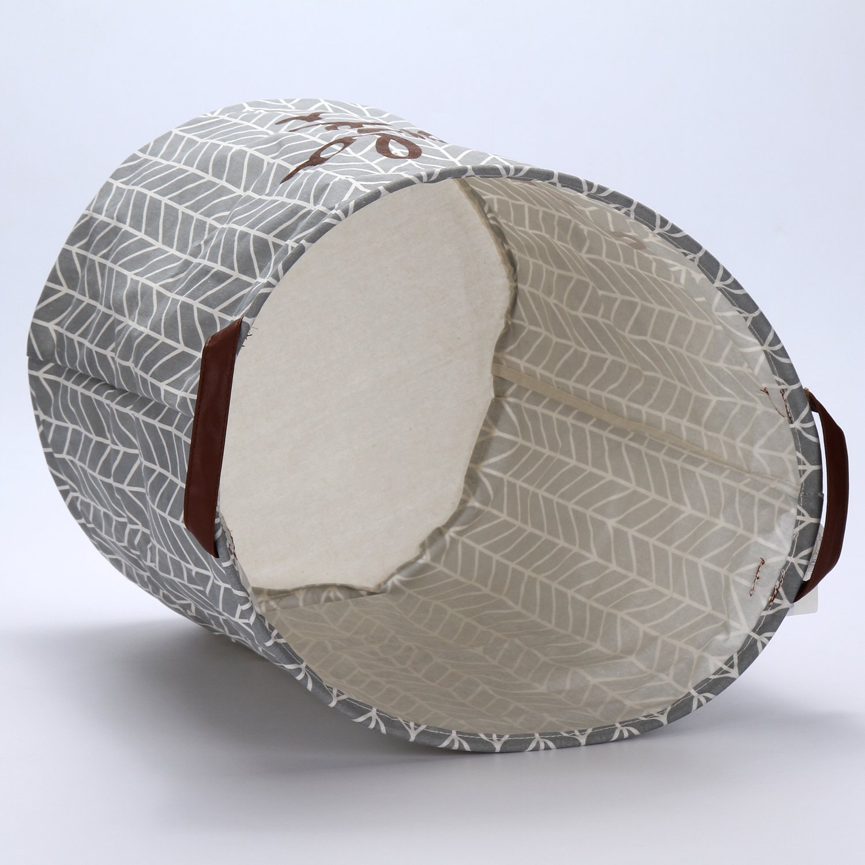 Sea Team Collapsible Burlap Organizing Laundry Hamper Baskets For Clothing Storage Baby Toys Storage,Grey