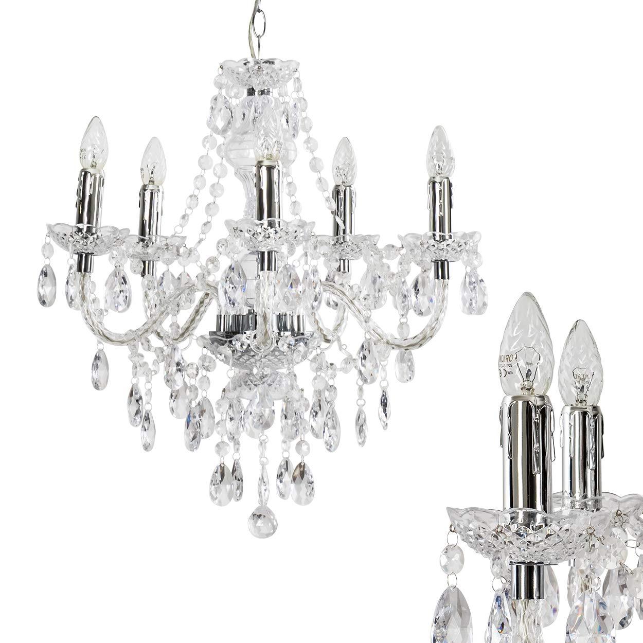 Kronleuchter aus Acryl klar - Klassische Hängeleuchte für Esszimmer - Wohnzimmer - Schlafzimmer - Flur - Aufhängungshöhe kann geändert werden hofstein H206