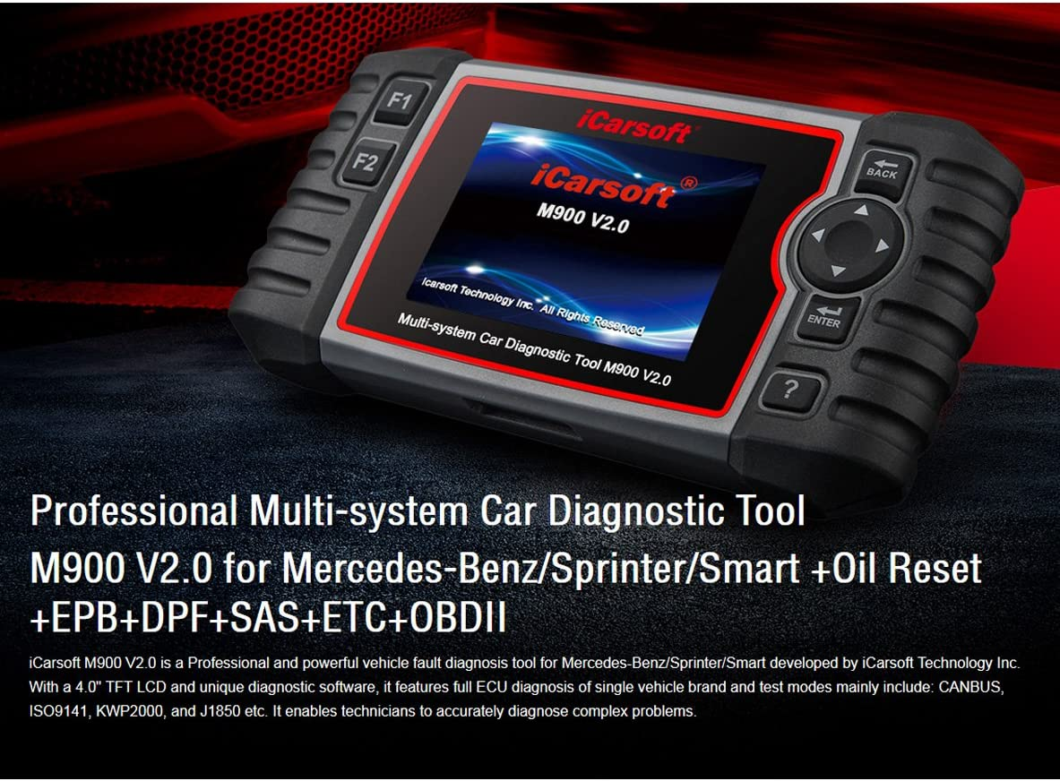 iCarsoft MB V2 OBD2 Scanner Mercedes//Sprinter//Smart ABS SRS OIL EPB DPF SAS ETC