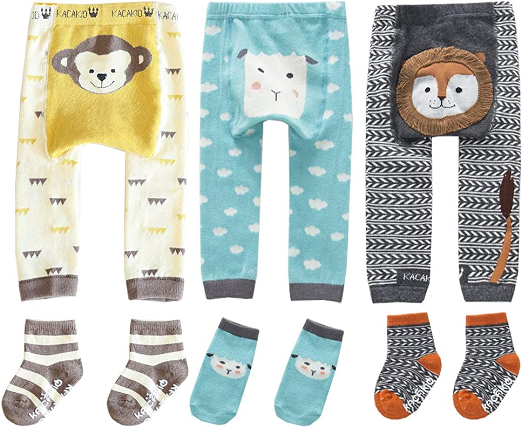 LXXIASHI Cotton Knitted Toddler Baby Boy Girl Skinny Leggings Ankle-Length Flexible Warmer Pants 0-5Y