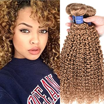 Honey Blonde 3 Bundles Malaysian Curly Hair Weave 27 Malaysian Kinky Curly Hair Double Weft Human