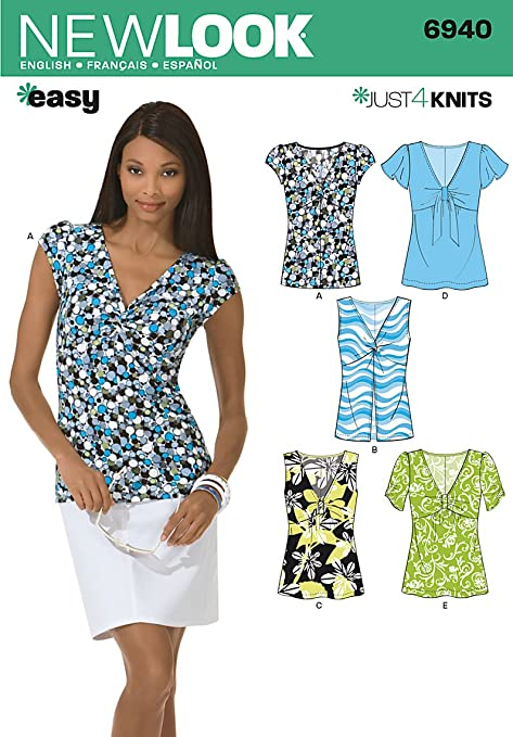 New Look 6940 Size A Misses\' Knit Tops Sewing Pattern, Multi-Colour ...