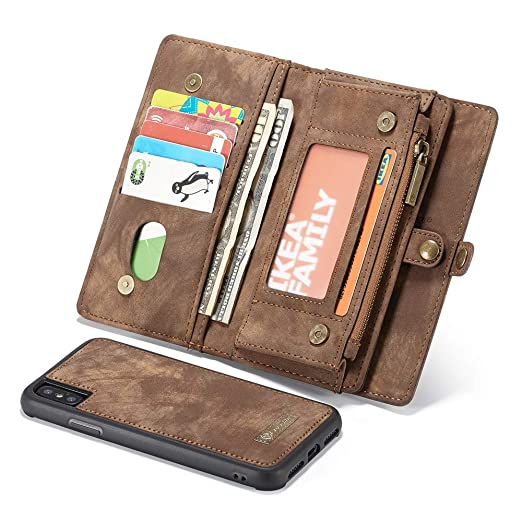 f33c786fd884 OutTop iPhone Xs Max 6.5Inch Case New Caseme 2-in-1 14 Slots Wallet Genuine  Zip Leather Case for Apple iPhone Xs Max