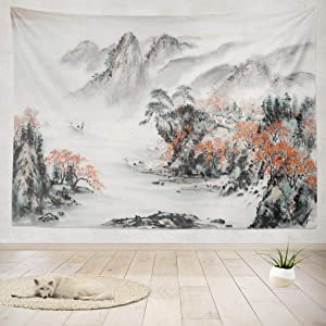"""threetothree 80"""" W x 60"""" L Tapestry Wall Hanging Interior Decorative Pink Cherry Chinese Landscape Japanese Blossom Mountain for Bedroom Living Room Tablecloth Dorm"""