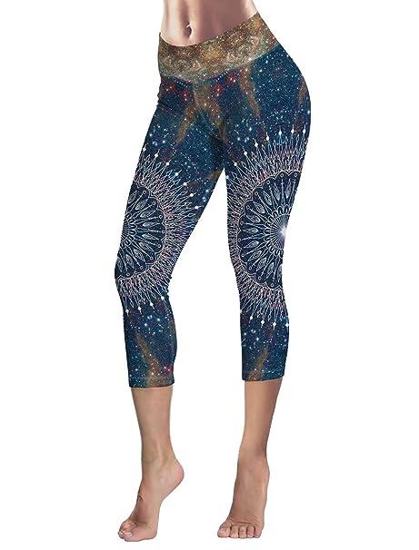 Amazon.com: Leggings para mujer azul blanco flores 3/4 ...