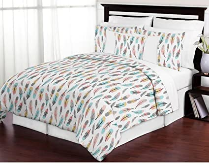 Amazon 40 Piece Cozy Feather All Over Pattern Comforter Set Full Amazing Dream Catcher Over Bed