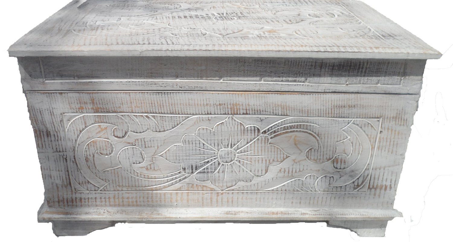 HAND CARVED WOODEN CHEST .FAIRTRADE WHITEWASH.SHABBY CHIC.