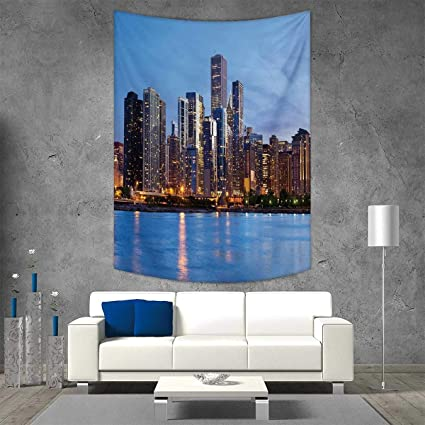 Smallbeefly Chicago Skyline Home Decorations Living Room Bedroom Sunset In Big City Dramatic Sky Skyscrapers Evening