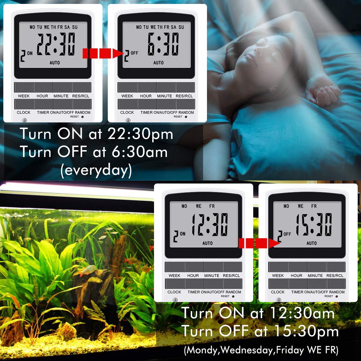 Temporizador Digital Programable Diario//Semanal Ahorrar Energ/ía y Dinero Magicfun Enchufe Programador Con Herramienta De Reinicio y Modo Aleatorio Antirrobo Pantalla LCD Grande