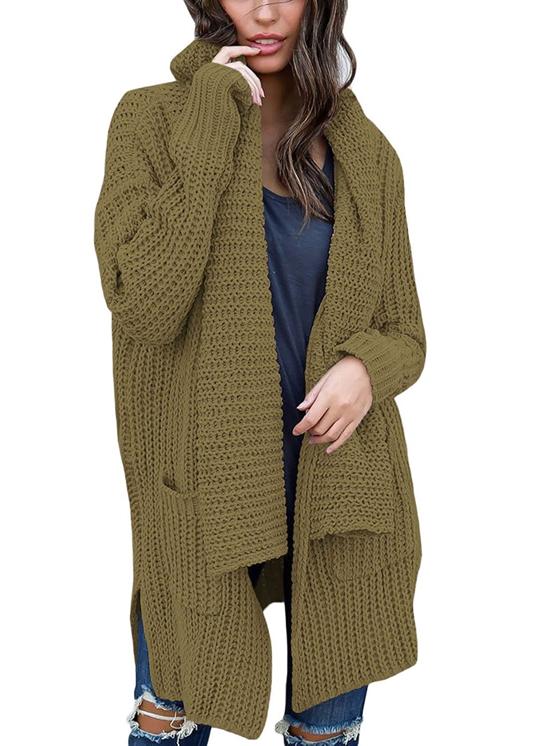 005139c217 Women Cable Knit Cardigan Sweaters Open Front Long Sleeve Winter Warm  Outwear with Pockets Feature  Long Sleeve