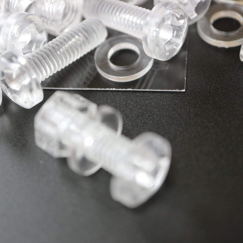 de pl/ástico acr/ílico Paquete de 20 tornillos y tuercas transparentes M6 x 20mm