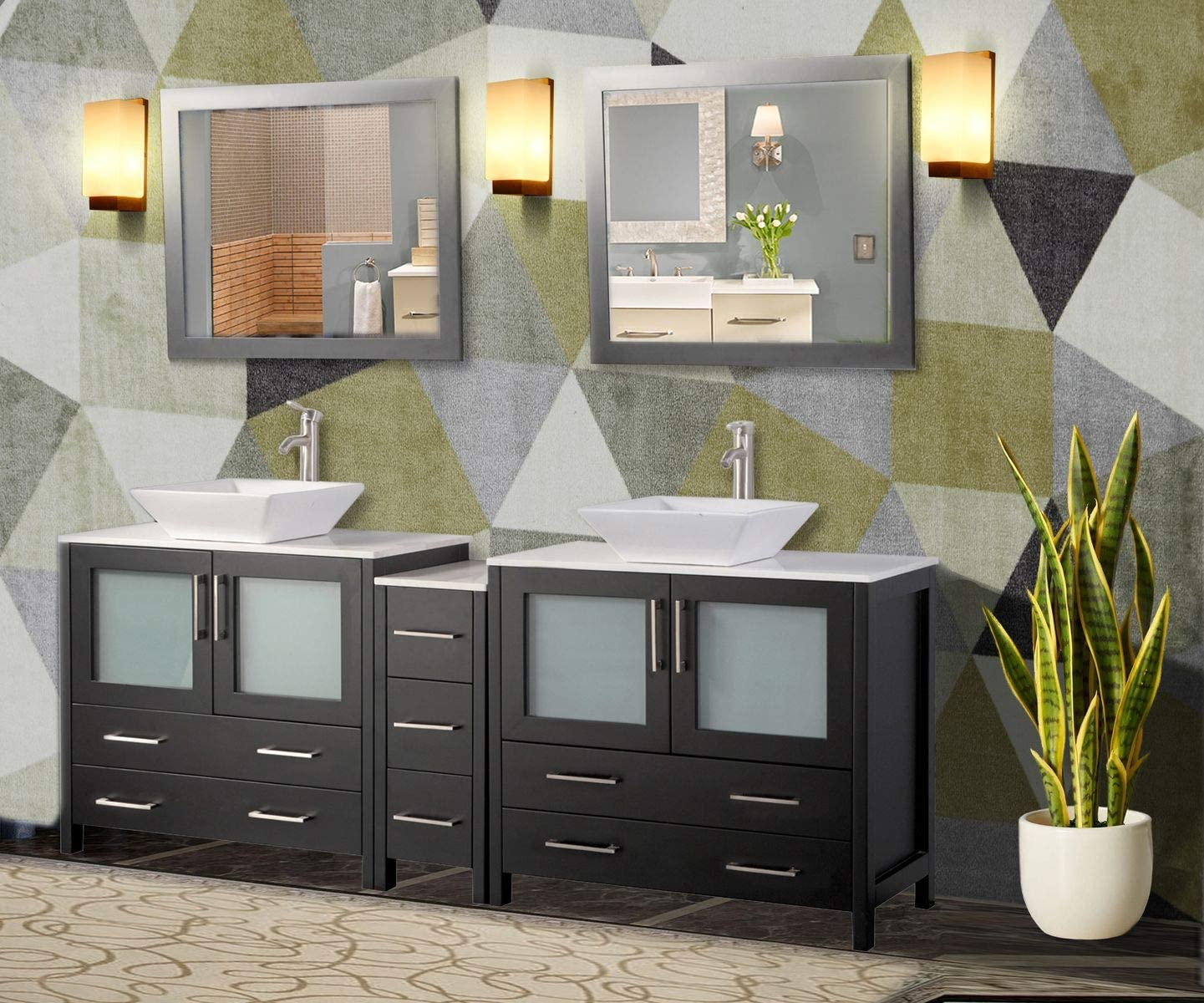 Amazon Com Vanity Art 84 Inch Double Sink Bathroom Vanity Compact Set 3 Cabinets 2 Shelves 7 Drawers Quartz Top And Ceramic Vessel Sink Bathroom Cabinet With Free Mirror Va3136 84 E Kitchen Dining