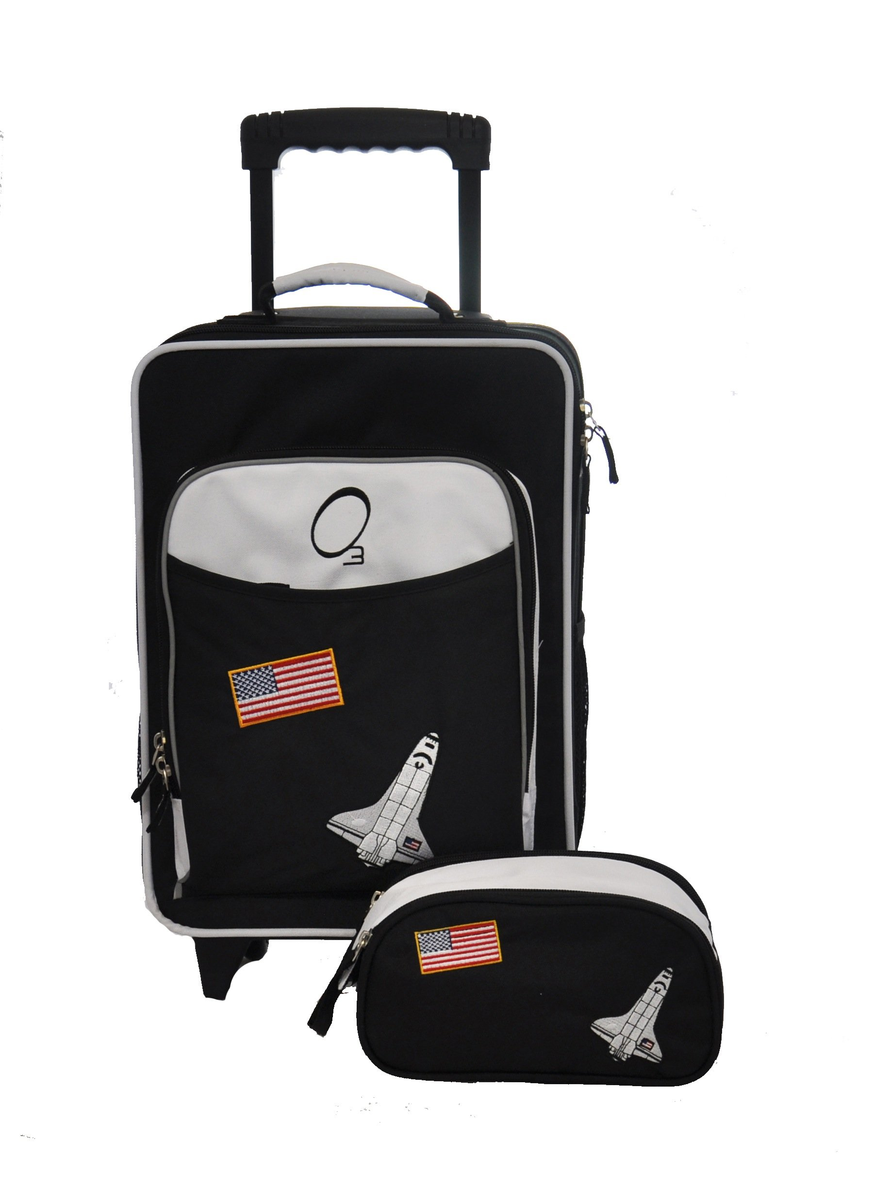 Kids Luggage Set, Large Rolling Piece and Travel Toiletry Case (Space) - Obersee by Obersee (Image #2)