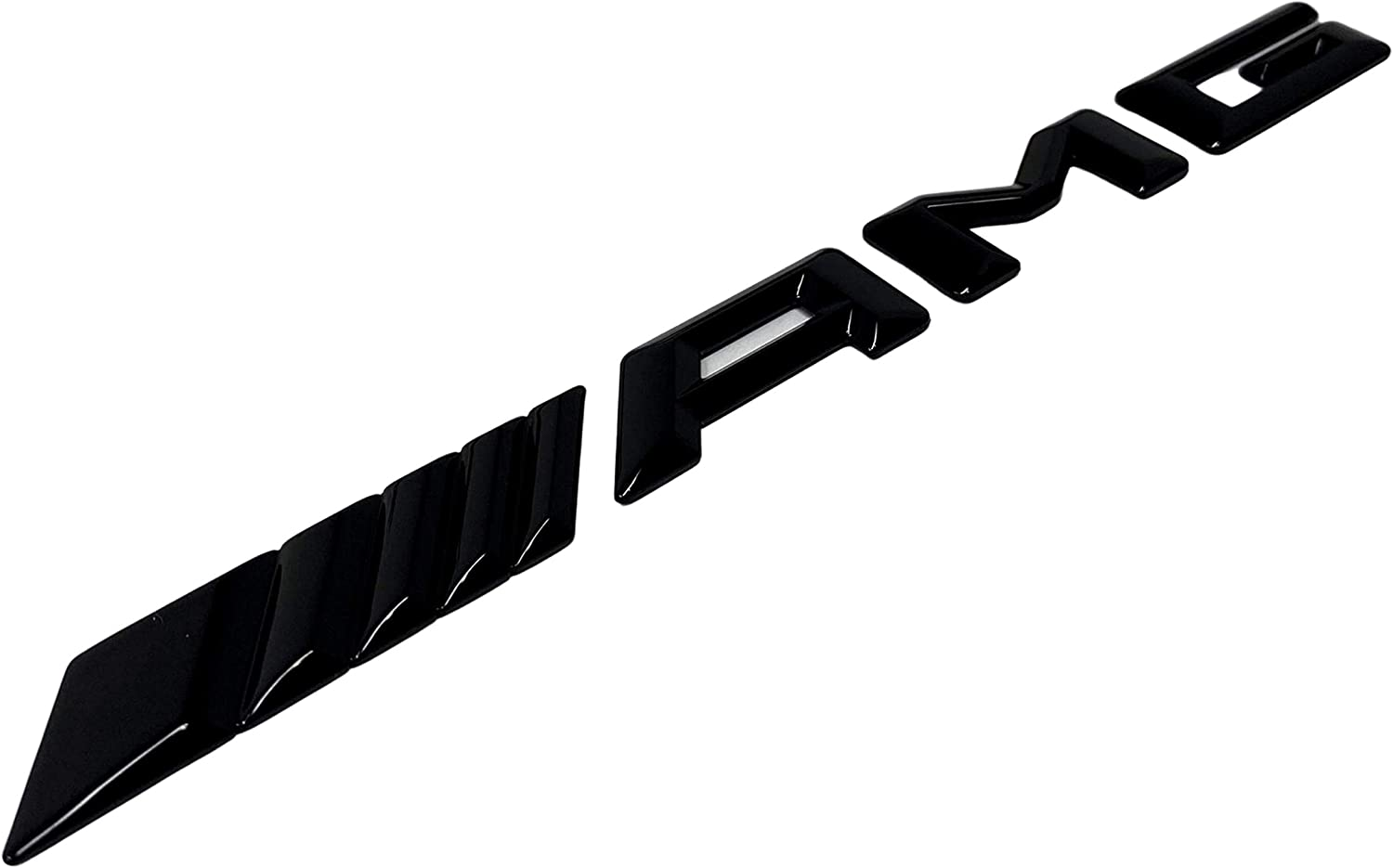 AMDCO AMG LETTERS CURVED REAR GLOSS BLACK Emblem Badge Stickers Decals with Strong 3M For BENZ AMG C S E etc pack of 1 AMG REAR