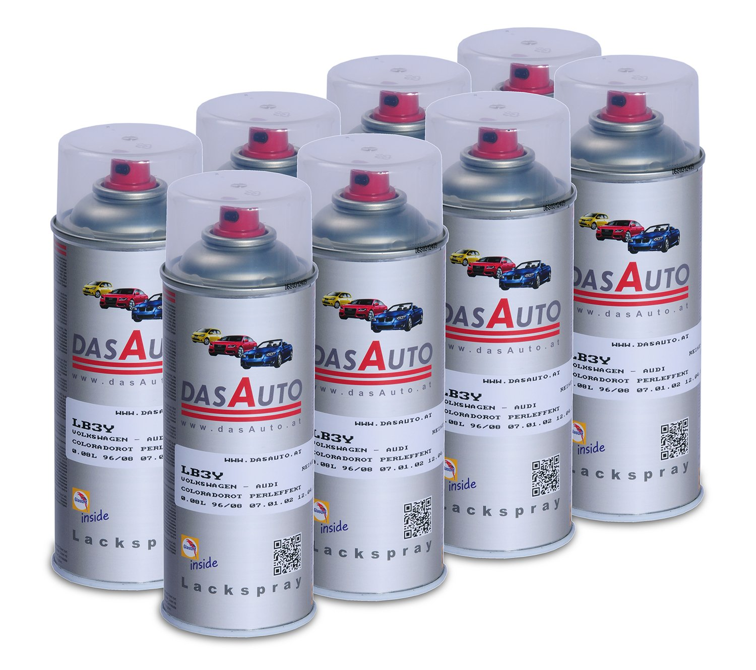 8 x dasauto Vernis Spray glasurit série 55 Inside 400 ml