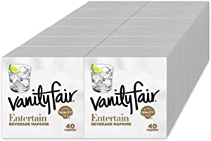Vanity Fair Entertain Paper Napkins, Beverage Cocktail Size, Classic White, 40 Count (Pack of 12)