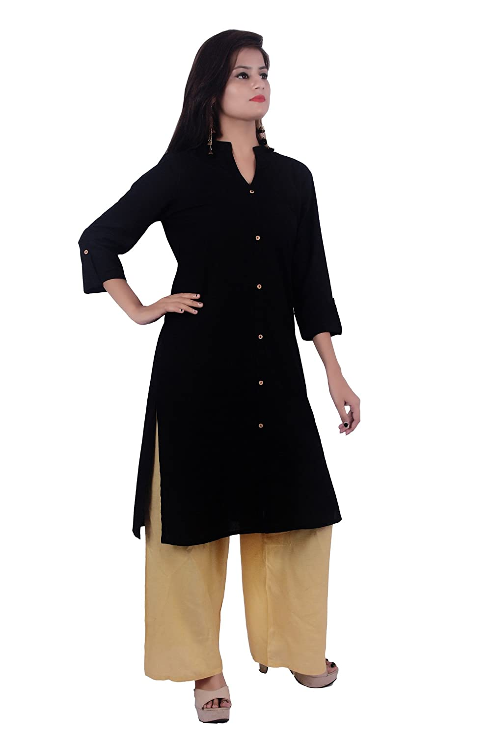 Indian Handicrfats Export Black Cotton Chinese Collar Solid Woman's Kurti