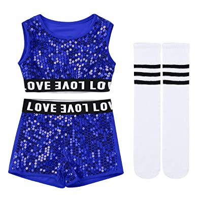 Aislor Kids Girls Sequined Jazz Hip-hop Dance Costume Outfit Crop Top with Shorts/Pants for Stage Performing: Clothing
