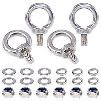 6Pcs Lock Washers and 6Pcs Flat Washers Swpeet 22Pcs 304 Stainless Steel M10 Male Thread Lifting Ring Eye Bolt Kit Including 4Pcs M10 Eye Bolt with 6Pcs Lock Nuts