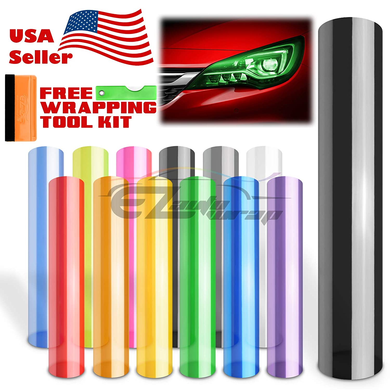 EZAUTOWRAP Free Tool Kit 12'x360' (1FT x 30FT) Glossy Dark Black Smoke Headlight Taillight Fog Light Side Marker Vinyl Tint Film Self Adhesive