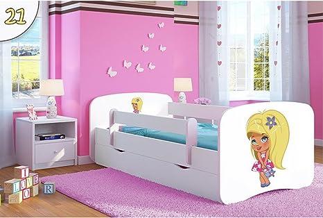 kocot Kids Cuna Cama 70 x 140 80 x 160 80 x 180 Color Blanco con protección anti Caídas Colchón cajón y somier camas infantiles para niña y niño