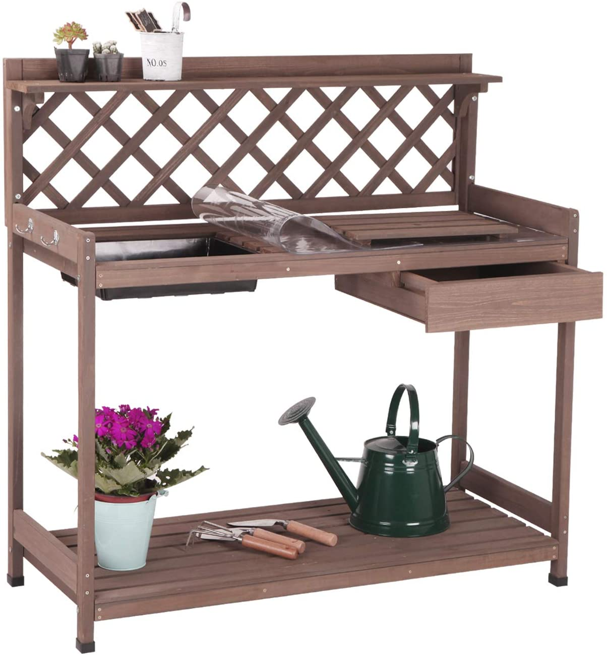 Aivituvin Potting Bench with PVC Layer, Outdoor Gardening Work Bench with Sink & Lid, Wooden Planting Table for Outside with Storage, Drawer, Shelf, Hook