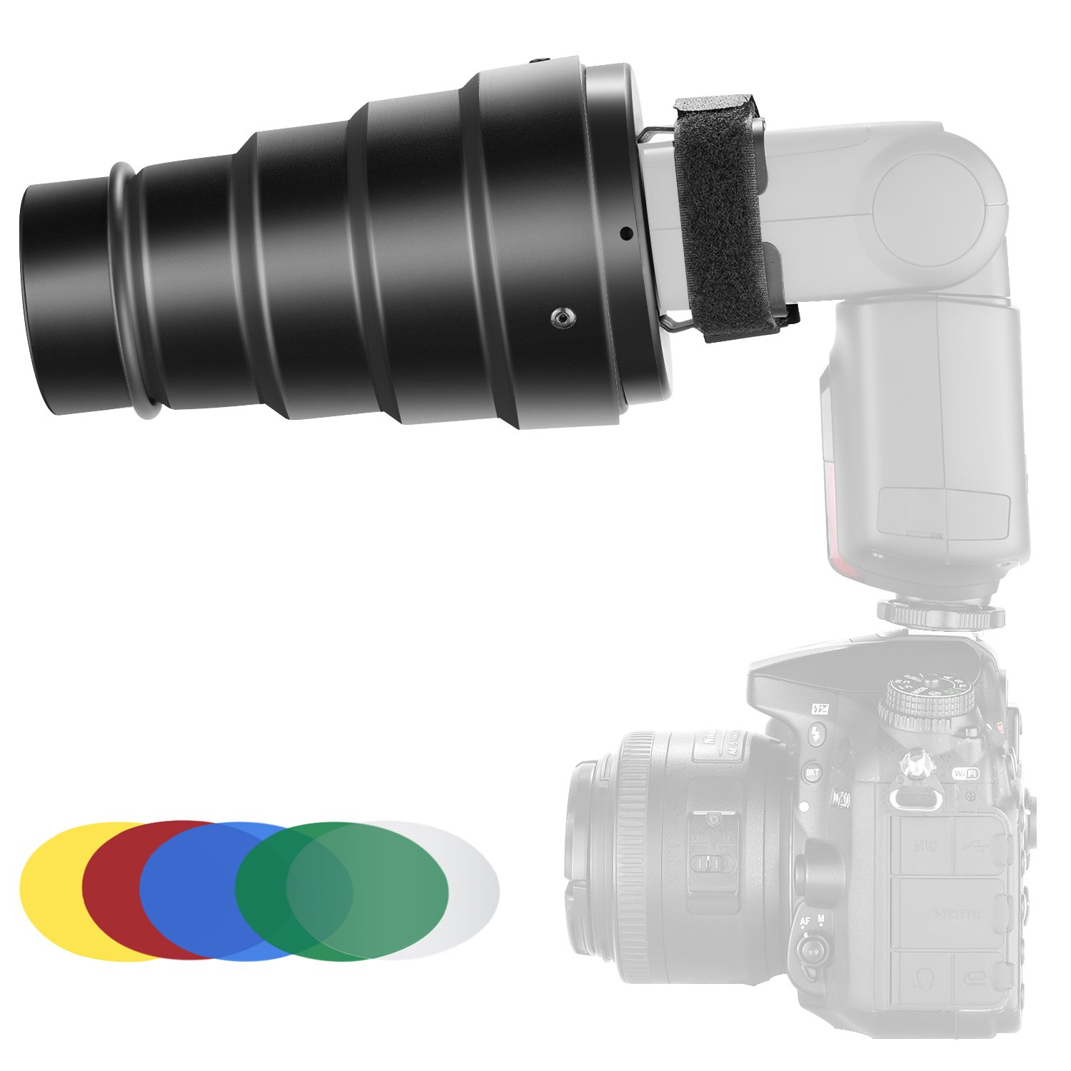 Neewer Aluminium Alloy Conical Snoot Kit with Honeycomb Grid and 5 Pieces Color Gel Filters for Canon Nikon TT560 NW561 NW562 NW565 NW620 NW630 NW680 NW670 750II NW910 NW880 Flash Speedlites by Neewer