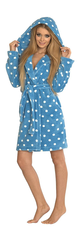 Womens Warm Robe Hooded Dressing Gown Housecoat Bathrobe Soft Kropki/983