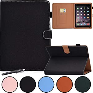 7 Inch Universal Case, GSFY Anti-Slip Folio Stand Protective Case Leather Pocket Cover with Stylus Holder for Samsung/Kindle/Huawei/Lenovo/HP/Asus/Acer 7.0 Inch Tablet, GX-Black