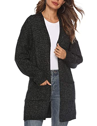 21fb0f218a Women s Casual Sweater Cardigan Open Front Long Sleeve Cable Knit Sweater  Pockets Black