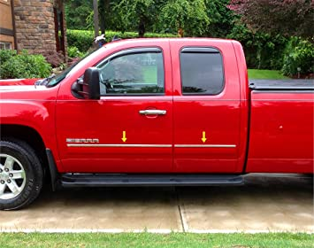 Works with 1999-2006 Chevy Silverado Crew Cab 4PC Stainless Steel Chrome Window Sill Trim Overlay MAXMATE Made in USA