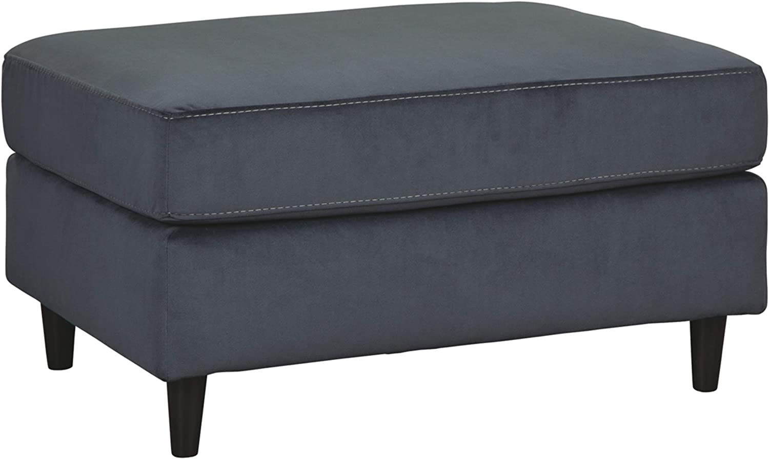 Signature Design by Ashley - Kennewick Contemporary Velvet Ottoman, Shadow