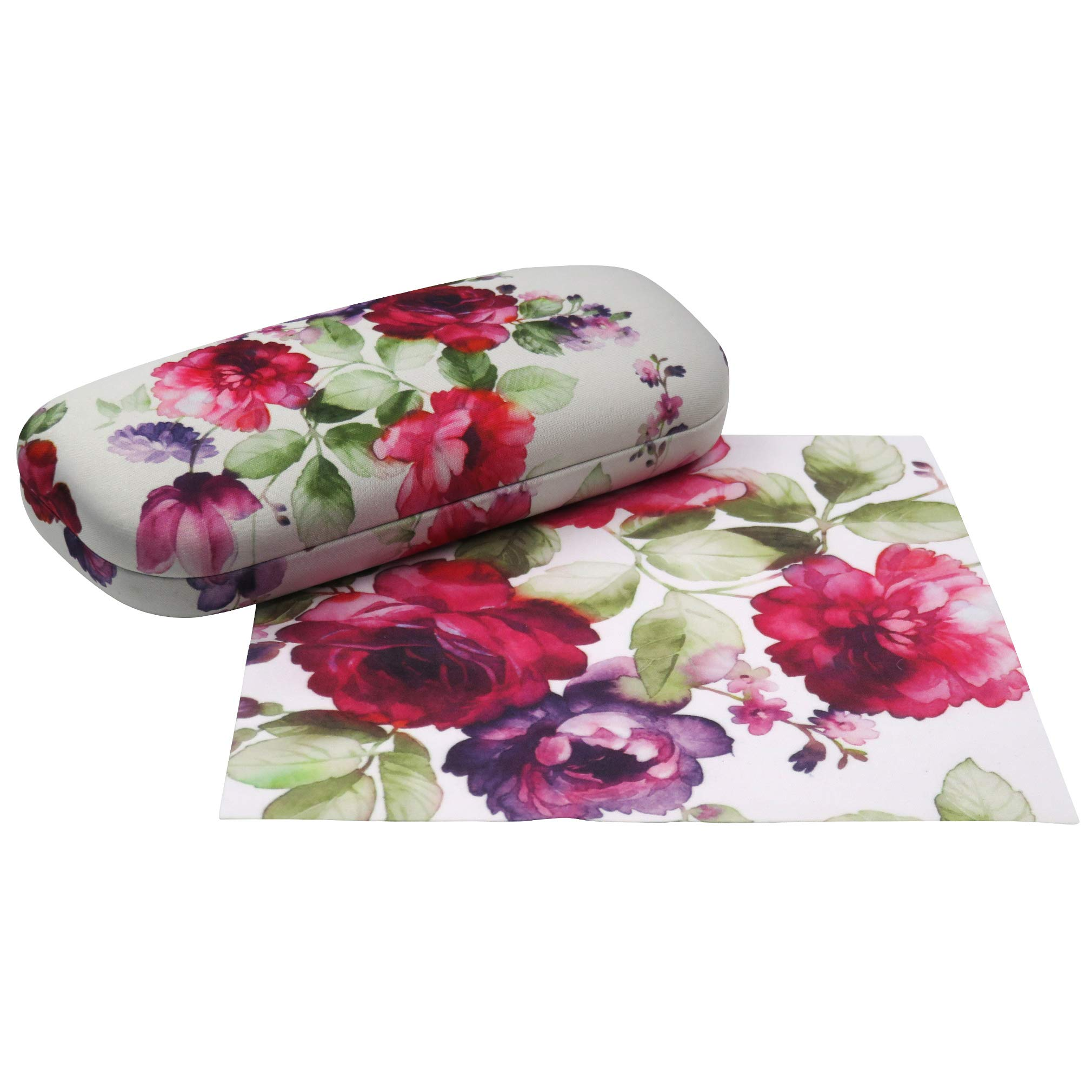 Floral Hard Shell Eyeglass Case for women Medium Sunglasses case with Cleaning Cloth by Rachel Rowberry (AS126 Cranberry Rose) by MyEyeglassCase (Image #6)