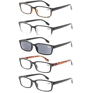 25c7d6b6edb6 Reading Glasses 5 Pack Spring Hinge Rectangular Men and Women Readers  Inclue Sun Readers (0.75