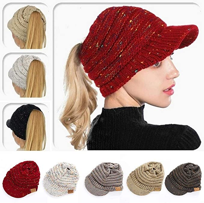 whungfa Ponytail Hat,Winter Autumn Knitted Ponytail Flower Line Hollow Hat Warm Soft Wool Cap Headband