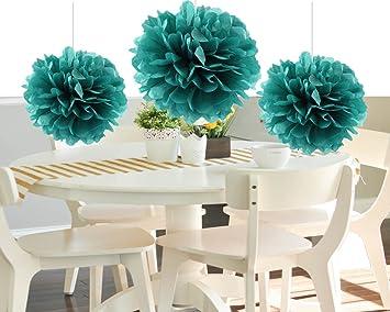 heartfeel 8pcs teal color tissue paper pom poms flower balls paper craft paper flower hanging pom