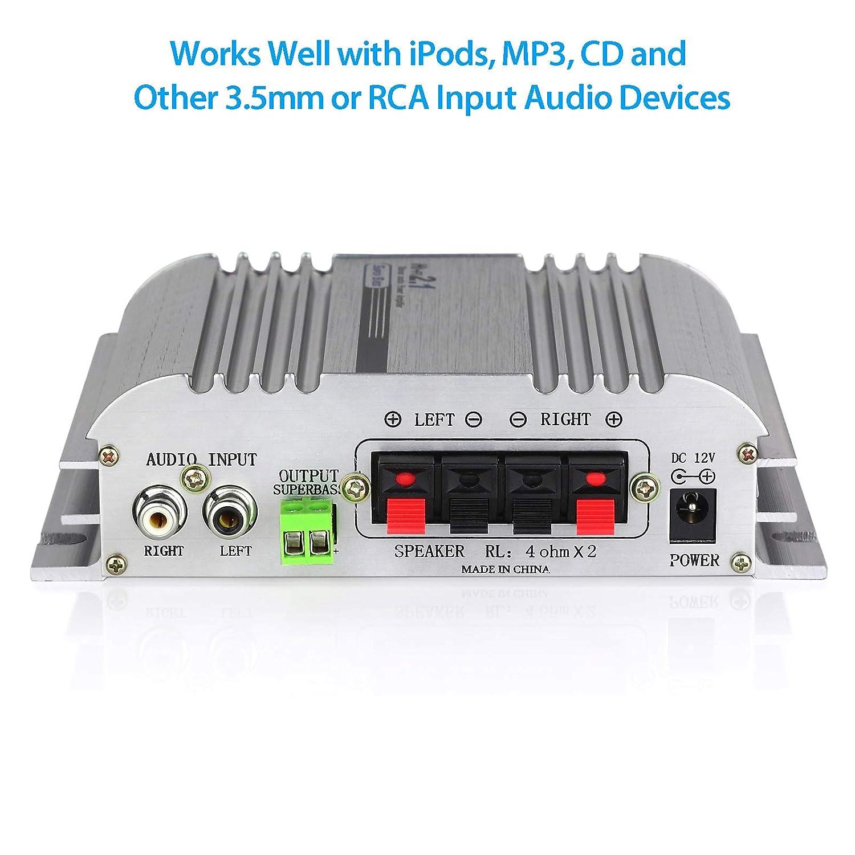 MP4 und iPod f/ür Motorrad und Auto Geh/äuse aus Aluminiumlegierung mit guter Hitzeverteilung MP3 LiNKFOR digitaler Mini-HiFi-Verst/ärker mit 2.1-Kanal Super B/ässe f/ür CD