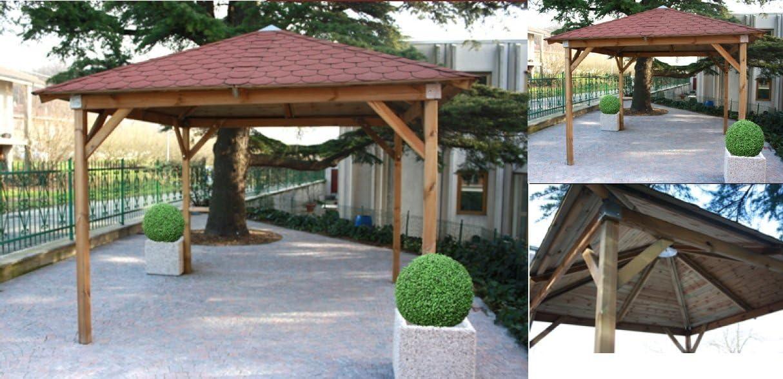 Gazebo en madera con tejas canadienses 3,5 x 3,5x 2,95 mt: Amazon.es: Bricolaje y herramientas