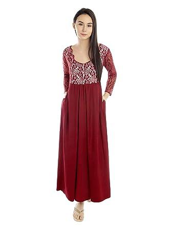 8790171116 Patrorna Women s Lace Trimmed Blouseon Nighty Night Dress GownIn Maroon(Size  S