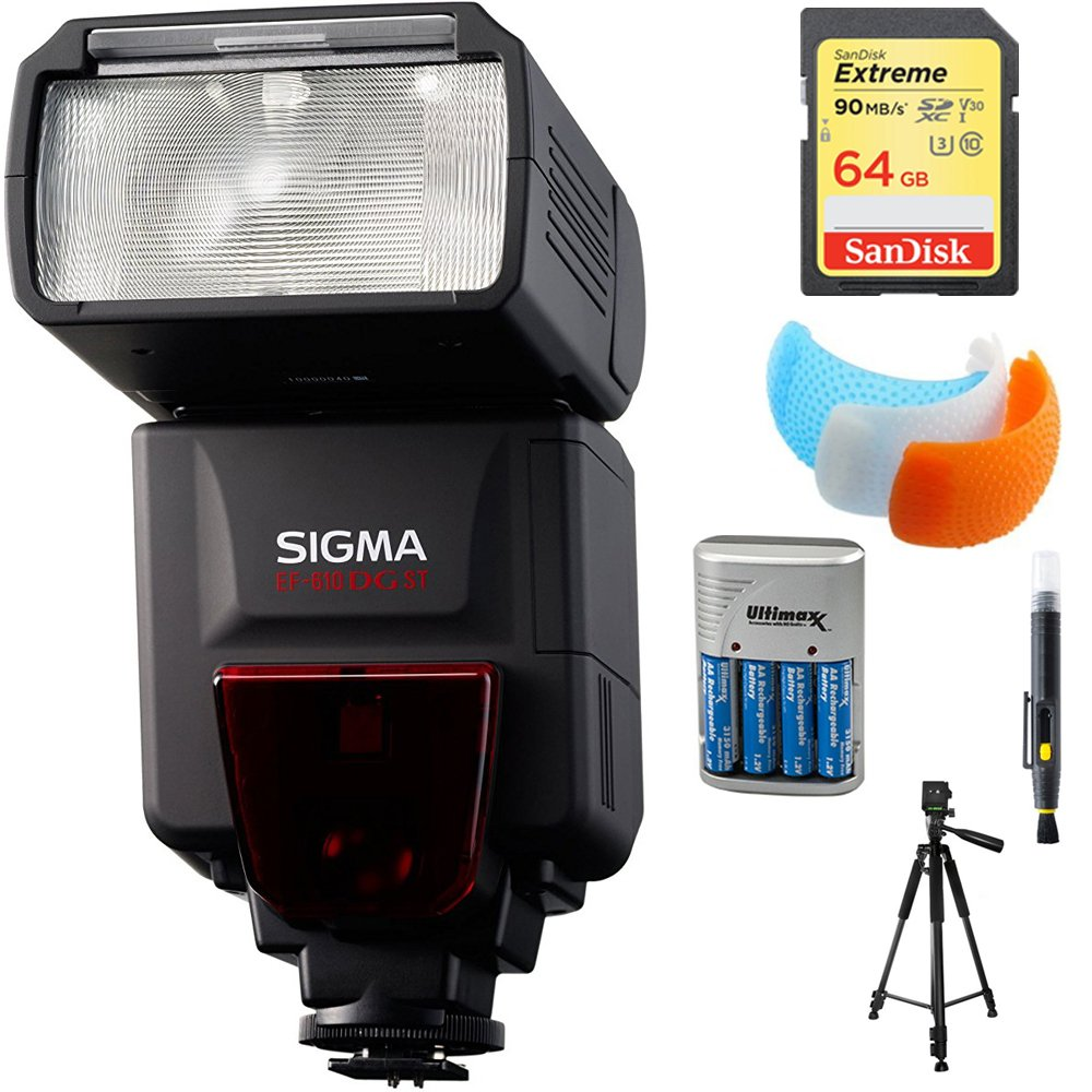 Sigma EF-610 DG ST Flash for Nikon DSLR Cameras (F19306) with 64GB Memory Card, DSLR Camera Flash Diffuser Soft Flash Cover, Travel Charger, 60'' Full Size Photo / Video Tripod & LCD/Lens Cleaning Pen by Sigma